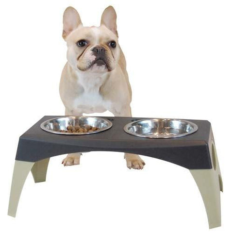 "Bergan Elevated Feeder Stormcloud Medium 9.66"" x 18.18"" x 8.05""  BER-88142 - Peazz Pet"