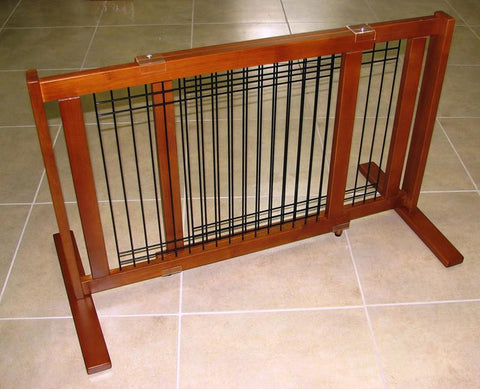"Crown Pet Freestanding Wood/Wire Pet Gate, Rubberwood 21"" High -Large Span - Peazz Pet"
