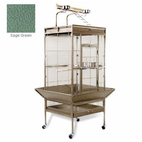 Medium Wrought Iron Select Bird Cage - Sage Green - Peazz Pet