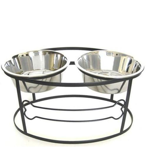 Bone Raised Double Dog Bowl - Medium - Peazz Pet