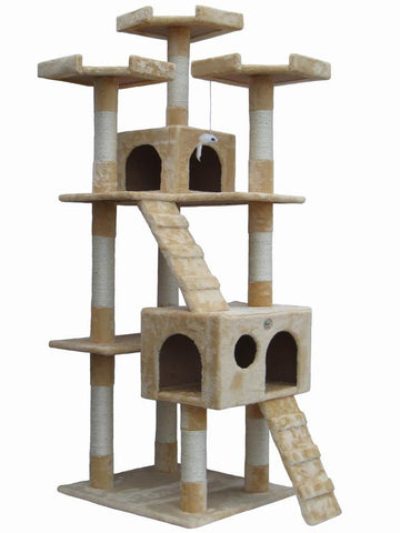 "GoPetClub Cat Tree Furniture Beige 72"" (F2080) - Peazz Pet"