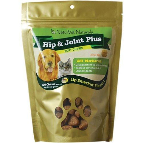 NaturVet Hip & Joint Plus Soft Chew, 120 Chews - Peazz Pet