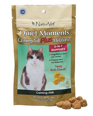 NaturVet Naturals Calming Aid Plus Ginger For Cats, 50 Soft Chews - Peazz Pet