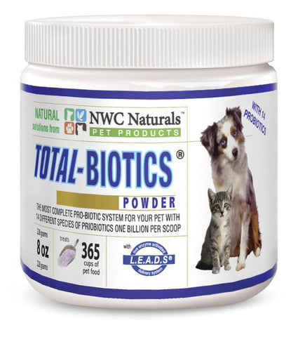 NWC Naturals Total-Biotics Probiotic Powder for Pets - Treats 365 Cups of Pet Food 228gm - Peazz Pet