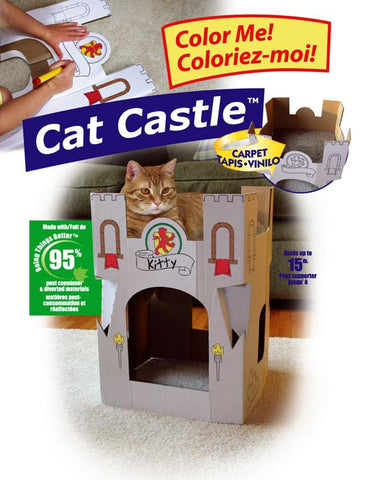 Omega Paw Cat Castle Cardboard Cat House - Peazz Pet