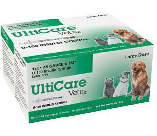 "UltiCare VetRx Insulin Syringe U-100, 1cc 29gaX1/2"", 100/Box - Peazz Pet"