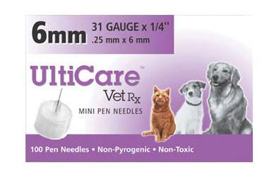UltiCare VetRx Pen Needles 31g x 1/4, 100/Box - Peazz Pet