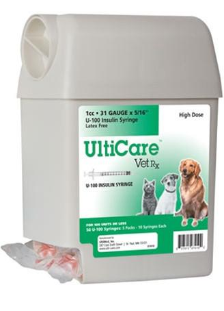 "UltiCare VetRx U-100 Insulin Syringe 1cc, 31g x 5/16"", UltiGuard Dispenser, Sharps Container, 50 Syringes - Peazz Pet"