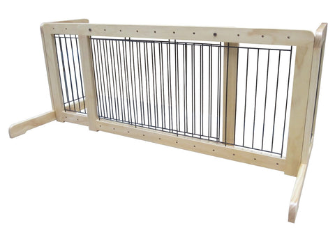 "Free Standing Step Over Gate - 39.8""-72"" - Natural - Peazz Pet"