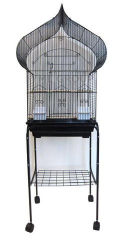 "YML Group 5864_4814BLK 5864 3/8"" Bar Spacing Taj Mahal Bird Cage With Stand - 18""x14"" In Black - Peazz Pet"