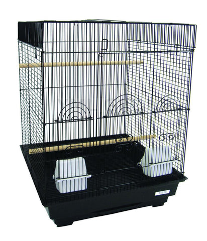 "YML Group 5924BLK 5924 3/8"" Bar Spacing Flat Top Small Bird Cage  - 18""x18"" In Black - Peazz Pet"