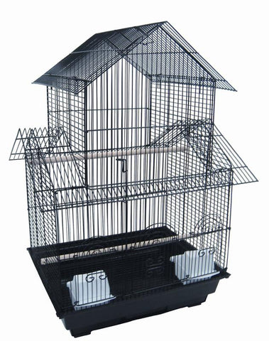 "YML Group 5944BLK 3/8"" Bar Spacing Double Roofs Small Bird Cage - 18""x18"" In Black"