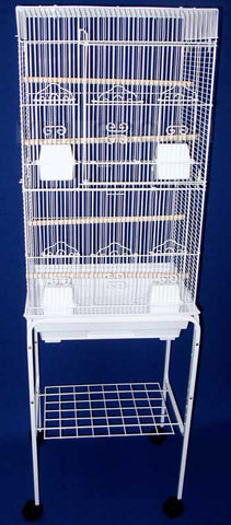 "YML Group 6824_4814WHT 6804 3/8"" Bar Spacing Tall Flat Top Small Bird Cage With Stand - 18""x14"" In White - Peazz Pet"