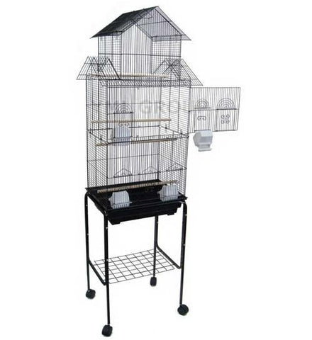 "YML Group 6844_4814BLK 6844 3/8"" Bar Spacing Tall Pagoda Top Small Bird Cage With Stand - 18""x14"" In Black - Peazz Pet"