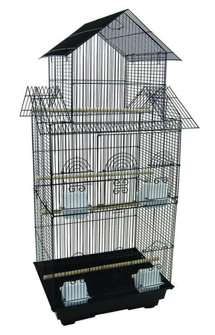 "YML Group 6844BLK 6844 3/8"" Bar Spacing Tall Pagoda Top Small Bird Cage  - 18""x14"" In Black - Peazz Pet"