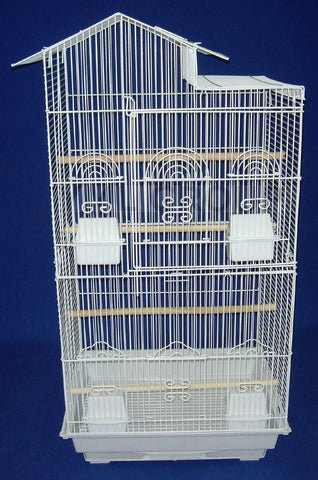 "YML Group 6894WHT 6894 3/8"" Bar Spacing Villa Top Small Bird Cage - 18""x14"" In White - Peazz Pet"
