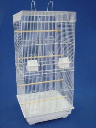 "YML Group 6924WHT 3/8"" Bar Spacing Tall SquareTop Small Bird Cage - 18""x18"" In White"