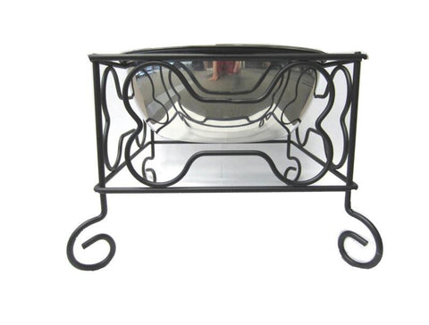 "YML Group DSB7 7"" Wrought Iron Stand with Single Stainless Steel Feeder Bowls"