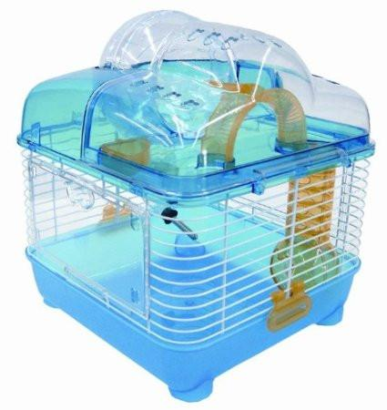 Yml Group H1010bl H1010 Clear Plastic Dwarf Hamster, Mice Cage With Ball On Top, Blue