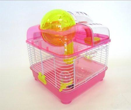 YML Group H1010PK H1010 Clear Plastic Dwarf Hamster, Mice Cage with Ball on Top, Pink