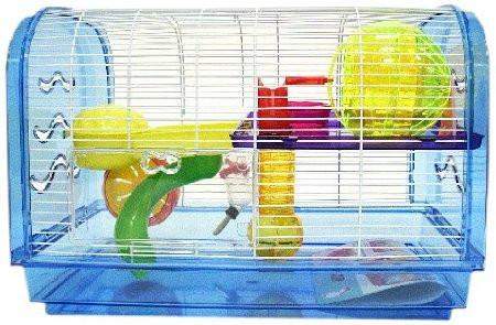 YML Group H1812A-BL H1812A Clear Plastic Dwarf Hamster, Mice Cage, Dome with Color Accessories, Blue