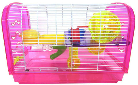 YML Group H1812A-PK H1812A Clear Plastic Dwarf Hamster, Mice Cage, Dome with Color Accessories, Pink