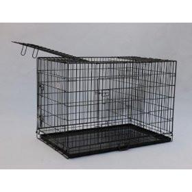 "YML Group SA42 42"" Double Door Dog Kennel Cage With Plastic Tray No Bottom Wire, Black"