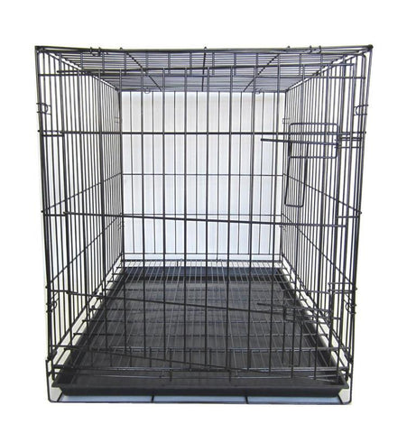 "YML Group SA48 48"" Double Door Dog Kennel Cage With Plastic Tray No Bottom Wire, Black"