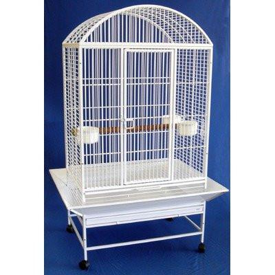 "YML Group WI32WHTR WI32 3/4"" Bar Spacing Dome Top Wrought Iron Parrot Cage - 32""x23"" In White"