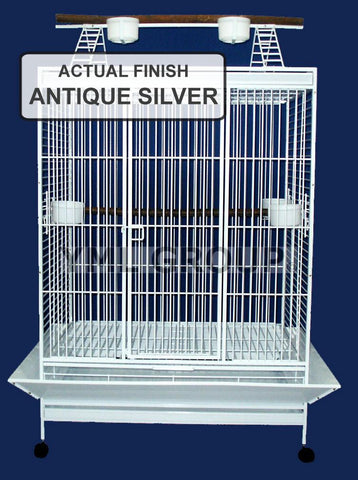 "YML Group WI40AS WI40 1"" Bar Spacing Play Top Wrought Iron Parrot Cage - 40""x30"" In Antique Silver"