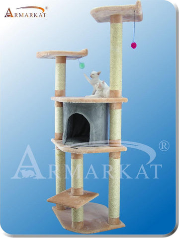 "Armarkat A6401 Faux Fur Pressed Wood 3.5"" Diameter Post Cat Tree 34"" L x 24"" W x 64"" H - Blanched Almond with Silver Grey Condo - Peazz Pet"