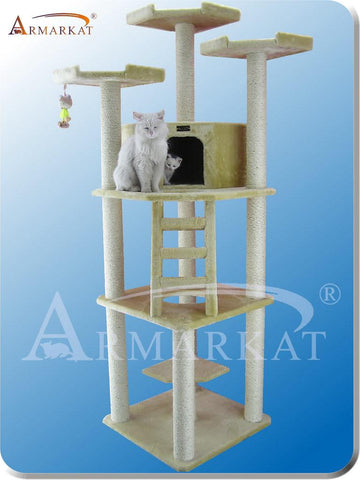 "Armarkat A8001 Faux Fur Plywood 3.5"" Diameter Post Cat Tree 40"" L x 33"" W x 80"" H - Beige - Peazz Pet"