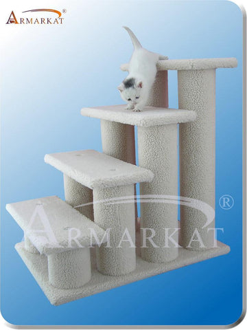 "Armarkat B4001 Faux Fleece Pressed Wood 4.5"" Diameter Post Cat Tree 25"" H x 25"" D x 17"" W - Ivory - Peazz Pet"