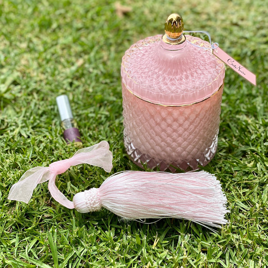 Cote Noire Grand Art Deco Candle - Pink . Free Delivery NZ Wide