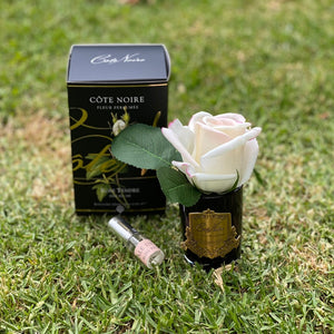 Cote Noire Pink Blush Rose Bud in Black Glass
