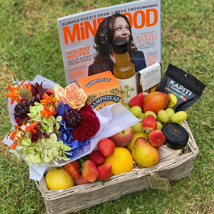 Fruit Basket, Flowers & MiNDFOOD magazine delivered in Auckland.