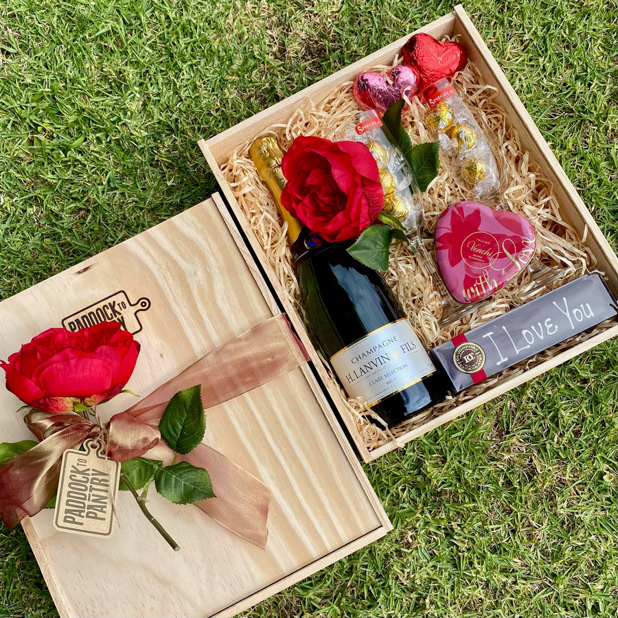 Valentines Day gift basket with Champagne and chocolate