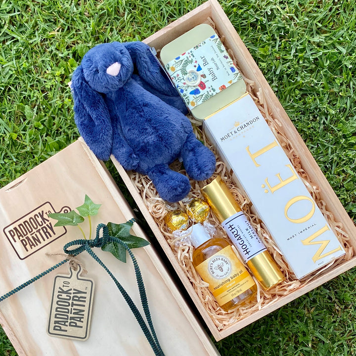 Baby Gift Basket NZ - the best gift for new parents. Including a Navy Jellycat Bunny.