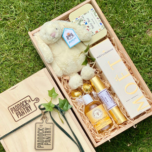 Baby Gift Basket NZ. Including Jellycat, Anoint and Moet.