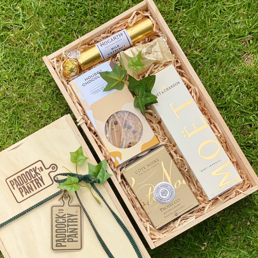 One of our favourite Gift Baskets - Your Little Moet. Includes Moet, Cote Noire, House Of Chocolate and more. An absolute treat that can be delivered anywhere in NZ.
