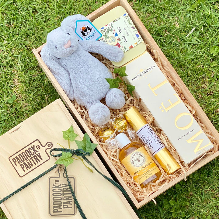 A Baby Gift Basket for the whole family to enjoy. Incuding a silver Jellycat. Get it shipped anywhere in NZ.