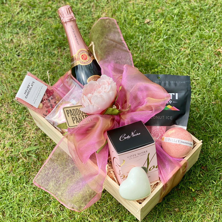 Pink Gift Basket delivered same day in Auckland. A Gift For Her that is sure to impress.
