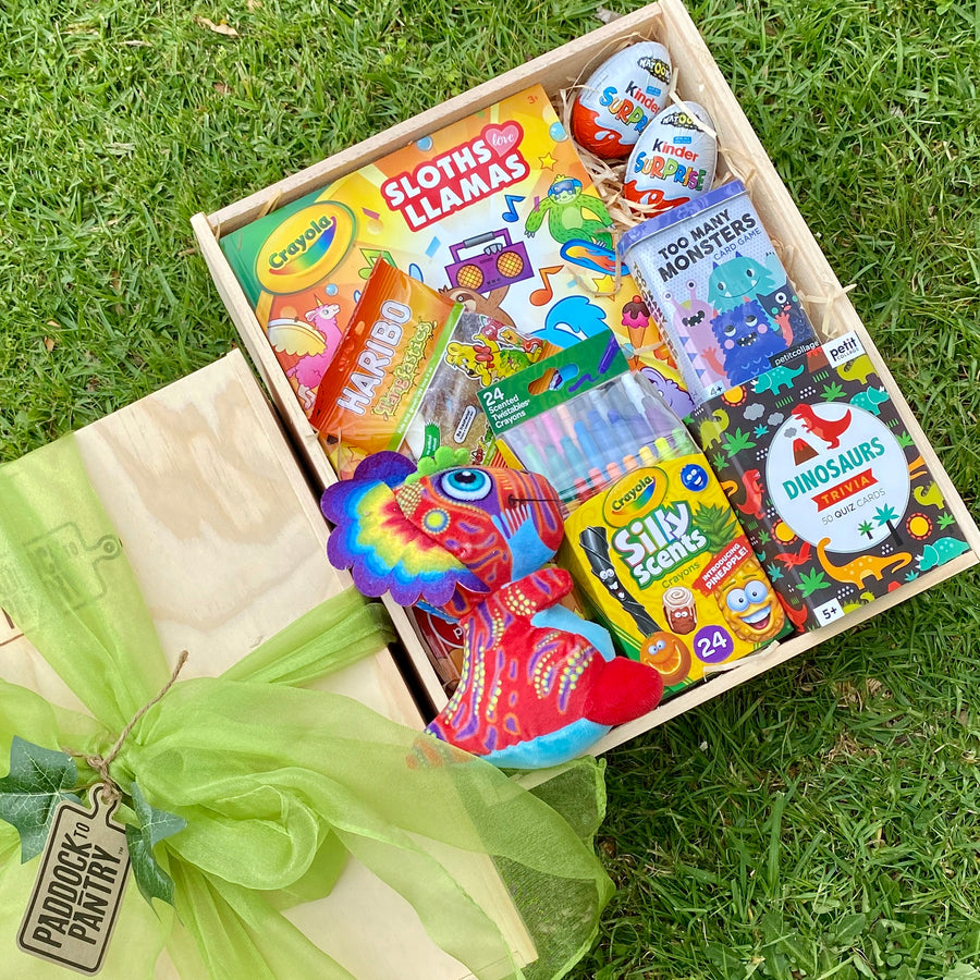 A great gift basket to keep your child entertained for hours. Including Haribo, Crayola & a Dinosaur teddy. Delivery anywhere in NZ for free!