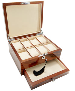 Harrowdene-Brazilian-Rosewood-Piano-Finish-Timber-Watch-Jewellery-Box-Length-24.5cm-Open-Drawer