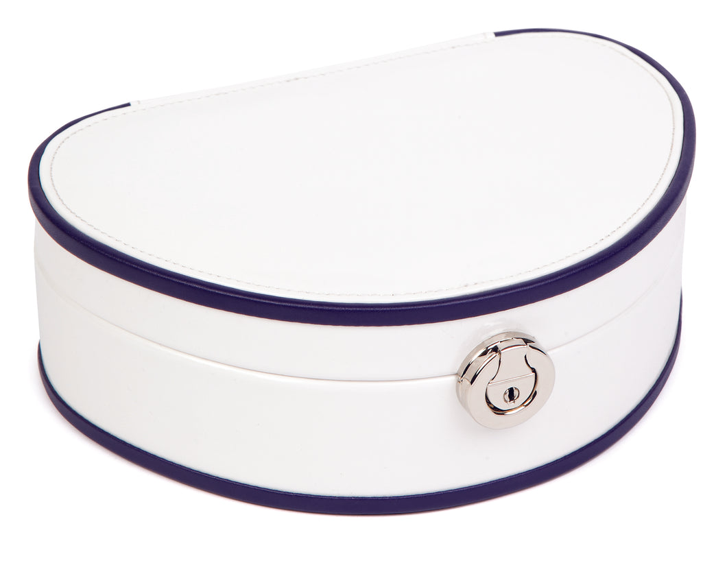 Harrowdene-Demi-Lune-White-Patent-Faux-Leather-White-Jewellery-Box-Length-22cm-Closed