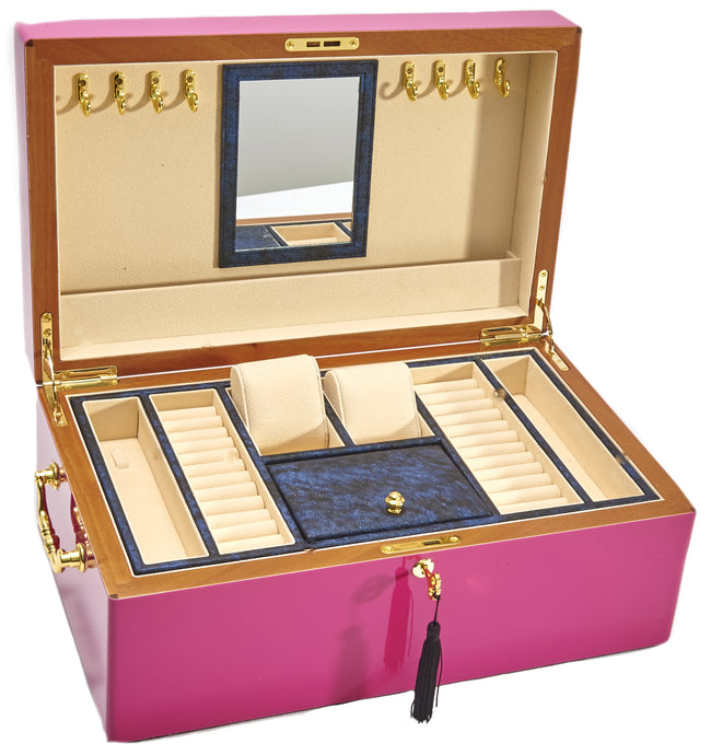Harrowdene Very Large Magenta Piano Finish Timber Jewellery Box, Length 52cm