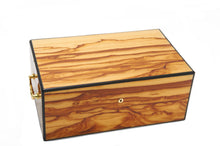 Harrowdene Very Large Timber Piano Finish Tiger Jewellery Box - Closed