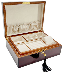 Harrowdene Rosewood Wood Piano Finish Jewellery Box with Liftout Tray