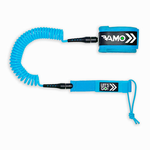 9' Full Coiled SUP Paddleboard Leash - Blue - Paddleboard_SUP_Leash_Coil_Leash_Neoprene_Cuff - VAMO - www.vamolife.com