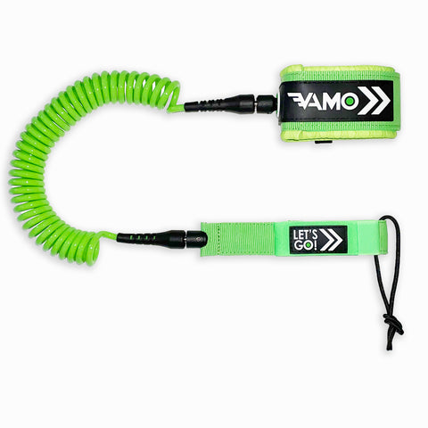 9' Full Coiled SUP Paddleboard Leash - Green - Paddleboard_SUP_Leash_Coil_Leash_Neoprene_Cuff - VAMO - www.vamolife.com